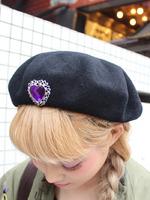 ハート付きベレー帽の画像