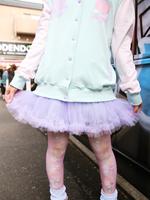 リボン付き切替えチュールパニエ スカートの画像