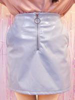 エナメルフロントジップタイトミニスカートの画像